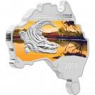 Krokodýl mořský 2014 1 Oz Ag-mince ve tvaru australské mapy