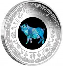Stříbrná mince Rok vepře Opálový lunární rok 1 oz proof 2019