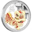 Čínský lví tanec 2015 1 Oz Ag Proof