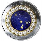Stříbrná mince znamení zvěrokruhus křišťálem Beran proof 2019