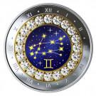 Stříbrná mince znamení zvěrokruhus křišťálem Blíženci 1/4 oz proof 2019
