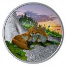 Stříbrná mince Kanadská fauna - Liška 1 Oz proof - barevná