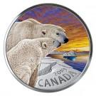 Stříbrná mince Polární medvěd Kanadská fauna 1 oz proof kolor 2019
