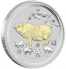 Stříbrná mince Rok Vepře 1 oz proof pozlacená 2019