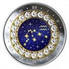 Stříbrná mince znamení zvěrokruhus křišťálem Vodnář proof 2019