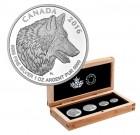 Sada 4 stříbrných mincí - Vlk