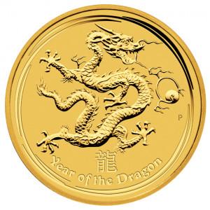 Zlatá mince Lunární série Rok Draka 1/4 oz BU 2012