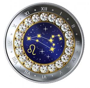 Stříbrná mince znamení zvěrokruhus křišťálem Lev 1/4 oz proof 2019