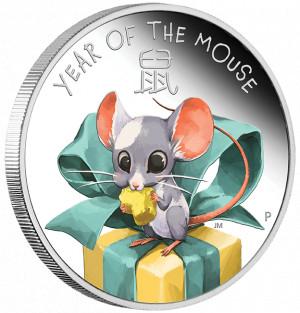 Stříbrná mince Rok Myši Baby 1/2 oz proof 2020