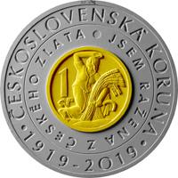 Bimetalová mince Zavedení československé koruny 2019